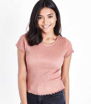 Petite Mid Pink Shirred Short Sleeve T-Shirt