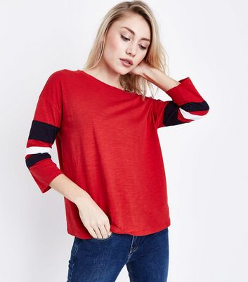Petite Red Stripe Sleeve Oversized T-Shirt