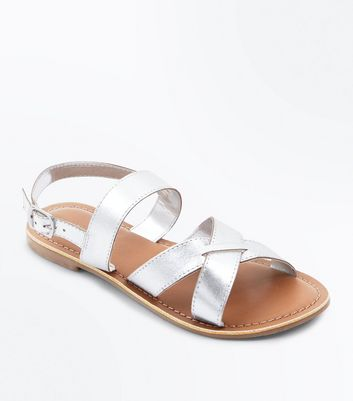 Silver Leather Cross Strap Flat Sandals
