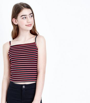 Teens Red Stripe Ribbed Cami Top