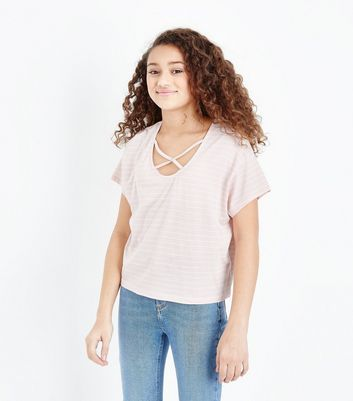 Teens Pink Stripe Lattice Front T-Shirt