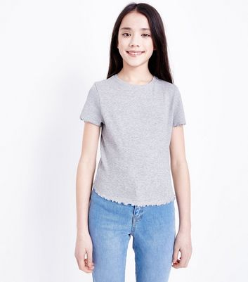Teens Grey Marl Ribbed Frill Edge T-Shirt