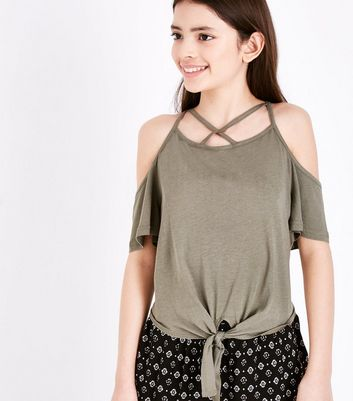 Teens Khaki Cold Shoulder Top