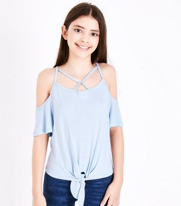 Teens Pale Blue Lattice Tie Front Cold Shoulder Top