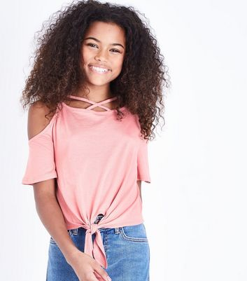 Teens Coral Lattice Tie Front Cold Shoulder Top