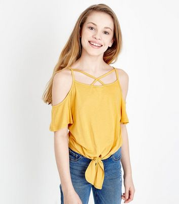 Teens Mustard Cold Shoulder Top