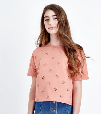 Teens Orange Floral Embroidered T-Shirt