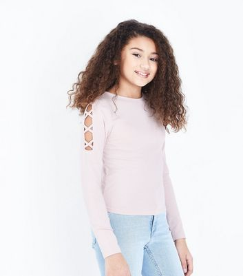 Teens Pale Pink Lattice Shoulder Top