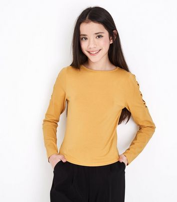 Teens Mustard Lattice Shoulder Top