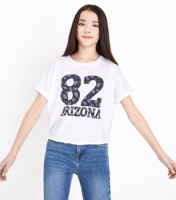 Teens White 82 Arizona Printed Front T-Shirt