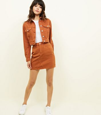 Rust Cropped Denim Jacket
