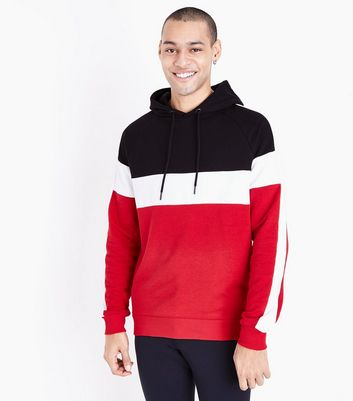 Red Colour Block Stripe Hooded Sweatshirt