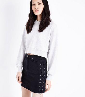 Black Lace Up Side Denim Skirt
