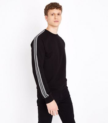 Black Stripe Tape Sleeve Sweatshirt