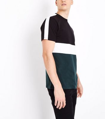 Dark Green Colour Block T-Shirt
