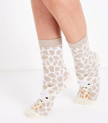 Cream Giraffe Socks