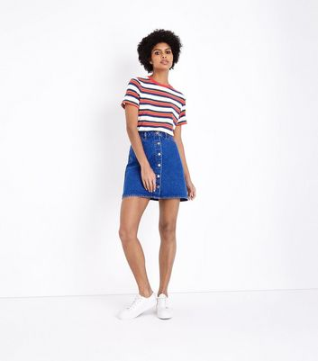 Bright Blue Button Front Denim Mini Skirt
