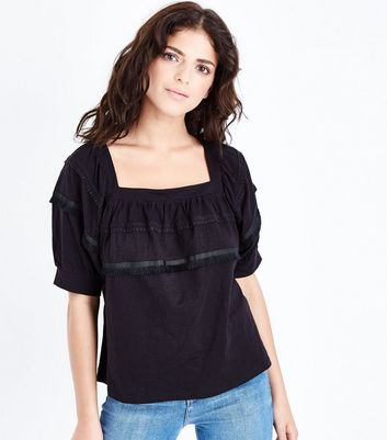 Black Square Neck Fringed Lace Trim Top