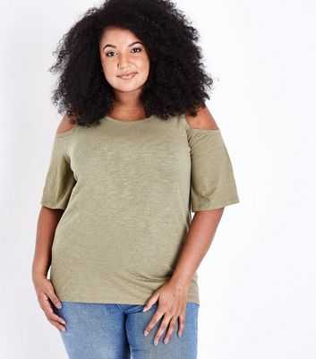 Curves Khaki Cold Shoulder T-Shirt