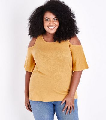 Curves Mustard Cold Shoulder T-Shirt