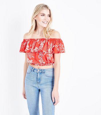 Red Floral Frill Bardot Crop Top