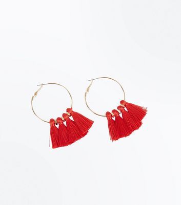Red Tassel Hoop Earrings