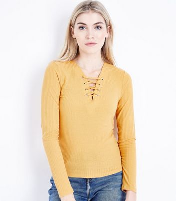 Tall Mustard Yellow Lace Up Neck Ribbed Top