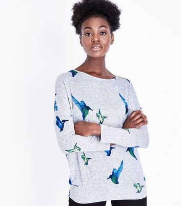 Mela Pale Grey Hummingbird Print Jumper
