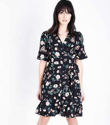 Tall Black Floral Print Bell Sleeve Wrap Dress