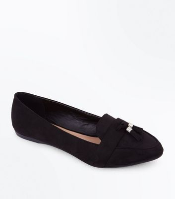 Wide Fit Black Suedette Tassel Pointed Loafers by New Look