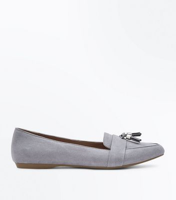 Wide Fit Grey Suedette Tassel Pointed Loafers