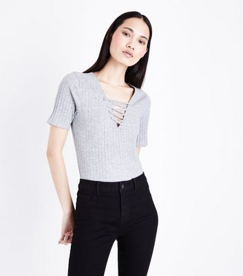 Grey Marl Lace-Up Ribbed T-Shirt