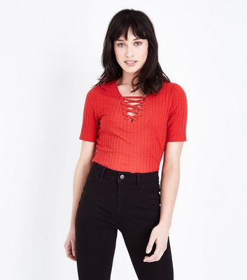Red Lace-Up Front Ribbed T-Shirt