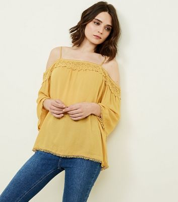 Yellow White Crochet Trim Cold Shoulder Blouse