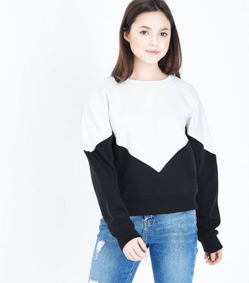 Teens Black Chevron Colour Block Sweatshirt