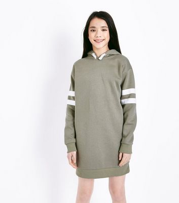 Teens Green Stripe Sleeve Hoodie Dress