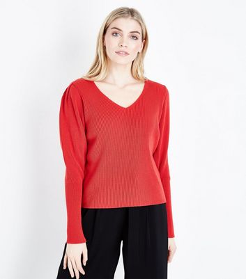 Red Ribbed Balloon Sleeve Jumper