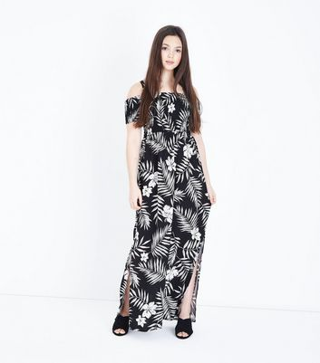 Teens Black Leaf Print Maxi Dress