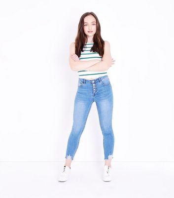 Teens Blue 5 Button Front Skinny Jeans