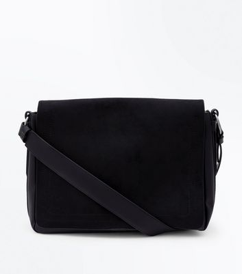 Black Suedette Messenger Bag