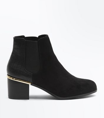 Wide Fit Black Comfort Flex Suedette Heeled Chelsea Boots