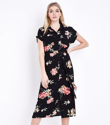 Tall Black Floral Short Sleeve Midi Shirt Dress