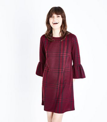 Burgundy Check Print Frill Sleeve Tunic Dress