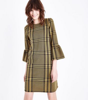 Mustard Yellow Check Bell Sleeve Tunic Dress