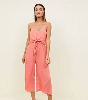 Coral Tie Front Linen Look Jumpsuit by New Look