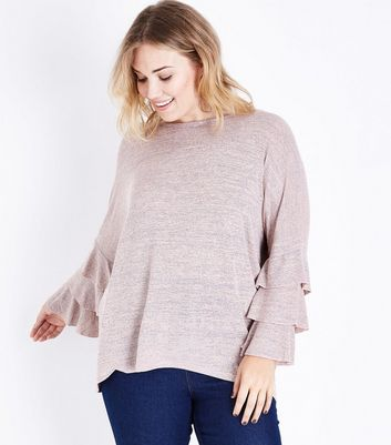 Blue Vanilla Curves Pale Pink Tier Sleeve Top