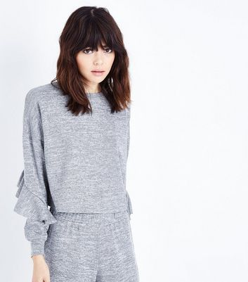 Grey Frill Sleeve Lounge Sweatshirt