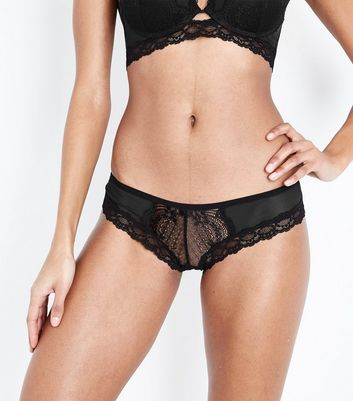 Black Strappy Trim Mesh Brazilian Briefs