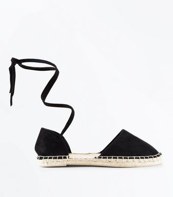 Wide Fit Black Suedette Ankle Tie Espadrilles
