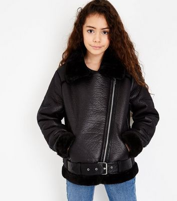 Teens Black Belted Aviator Jacket